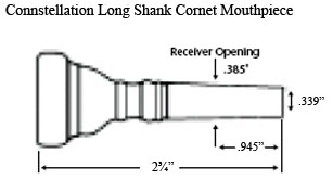 diagram of a Connstellation long shank cornet mouthpiece