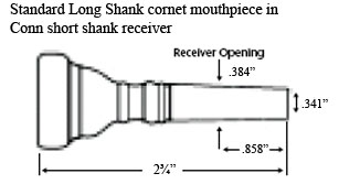 diagram of a long shank cornet mouthpiece in a short shank receiver
